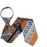 ZIP-11601 - Zipper Pattern Necktie - Orange Taupe Aqua Pink