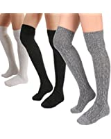 STYLEGAGA Winter Wool Cable Knit Over The Knee High Socks