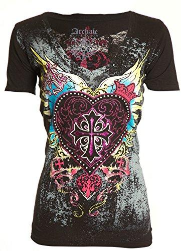 Archaic-AFFLICTION-Womens-T-Shirt-DARLING-Heart-Tattoo-Biker-Sinful