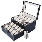 DXP Uhrenbox für 20 Uhren Uhrenkasten Uhrenkoffer mit Glasfenster Schwarz