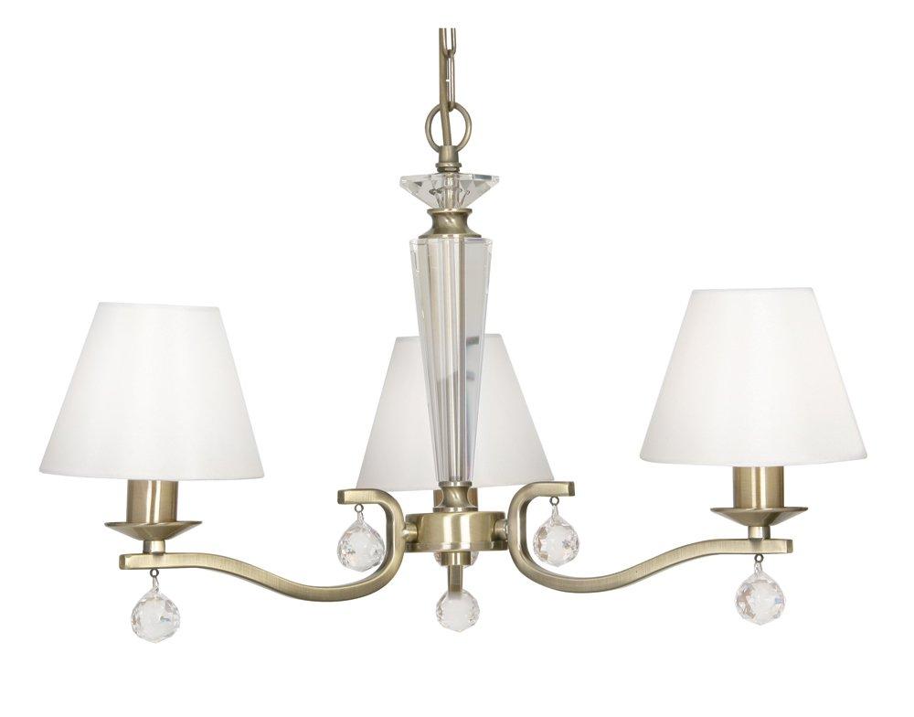 Oaks Lighting Deckenlampe Maita mit antiken Messing-Beschlägen und cremefarbenen Baumwollschirmen, 3 Leuchten