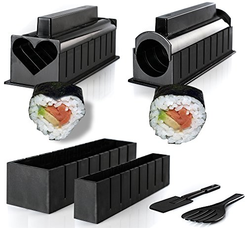 Sushi Making Kit with 6 Cute Shapes, Your First Sushi Step-By-Step Instructions Included, Sushi Maker Used in Restaurants, Rice Mold Set for Beginners