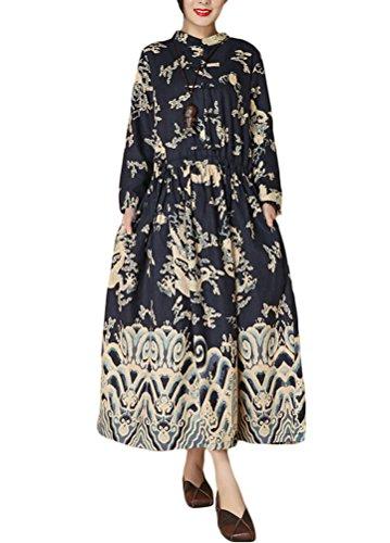 Minibee Women's Dragon Print Pattern Clothing (Navy Blue-Long Dress)