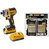 DEWALT DCF888D2 20V Max XR Brushless Tool Connect Impact Driver Kit, with (2) 2Ah XR Brushless Batteries with DEWALT Titanium Drill Bit Set, 10-Piece Impact Ready (DD5160)