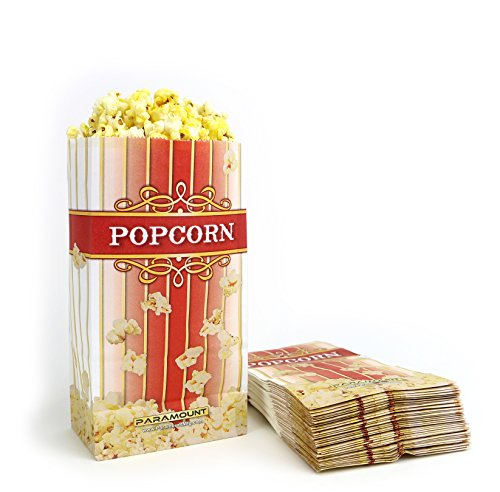 100 Popcorn Serving Bags - 'Small' Standalone Flat Bottom Paper Bag Style (Popcorn Bag Flat compare prices)
