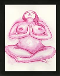 Original Art Pink Red Rouge Boudoir BBW Voluptuous Curvy Woman Love Prayer Yoga Nude Female Watercolor Painting with black wood frame