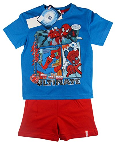 Spiderman Pyjama 2014 Kollektion 92 98 104 110 116 122 128 Shortie Shorty Kurz Jungen Sommer Neu Schlafanzug Blau-Rot (98 - 104)