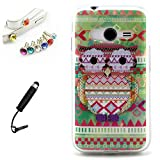 (NOT FOR ACE 4) Lusee® silicone Case for Samsung Galaxy Trend 2 G313H Protektiv Cover Skin Backcase Silicone Backcover case + free Touchpen, dustplug green stripe Owl