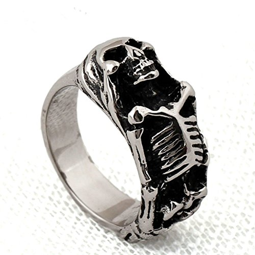 [Men's 316L Stainless Steel Vintage Biker Gothic Casted Death Skull Ring Silver Size 10] (Lion Costume Philippines)