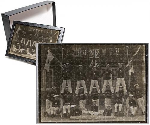 Photo Jigsaw Puzzle of WW1 - Group of British Sea Scouts - with flags of the Allies (British Flag Puzzle compare prices)