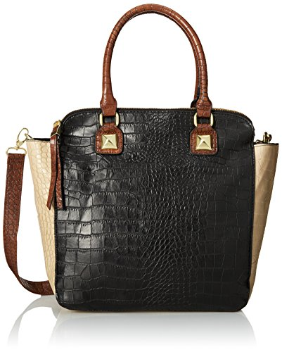 DEL MANO Large Faux Crocodile Satchel Top Handle Bag, Black Combo, One Size