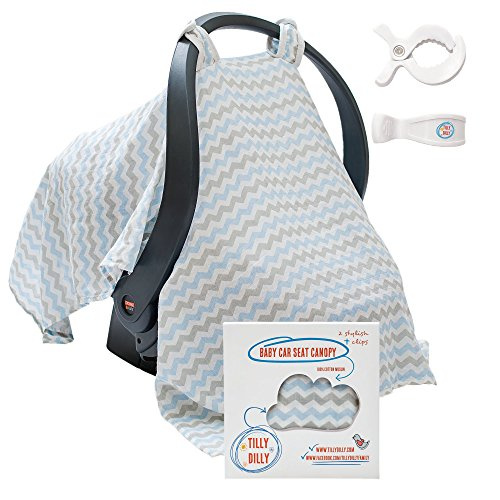 Baby Car Seat Covers - Super Soft Infant Carseat Canopy - Stroller Cover - Perfect Baby Shower Gift For Boys & Girls - 2 Adjustment Clips - 100% Cotton Muslin (Insect Netting For Auto Windows compare prices)