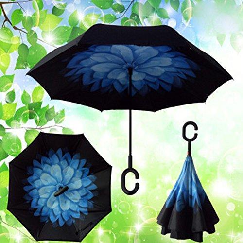 Rückseite Falten Regenschirm Double Qualitäts Double Layer Inverted Regenschirm stabil winddicht UV-Schutz faltbar Dach selbst für Auto Regen Schutz C-Form Griff Verwendung Reisen und Auto (Blau)