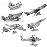 Metal Earth 3D Metal Model Kits - Boeing AH-64 Apache - P-51 Mustang - CH-47 Chinook - Commercial Jet - F-15 Eagle - B-17 Flying Fortress - 6 Piece Bundle