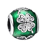 925 Sterling Silver Charms Enamel Clover European Charm Beads Fit Snake Chain Bracelet Bangle Necklace DIY Jewelry Making