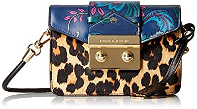 Juicy Couture Black Label Mini Crossbody with Envelop Flap Closure with Print Blocking Detail with Leopard and Flowers