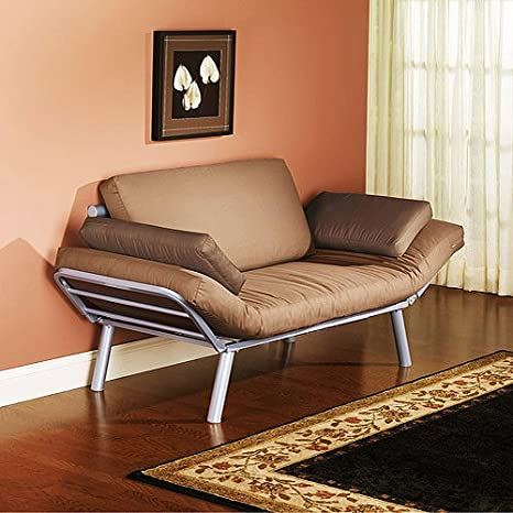 Euro Metal Arm Futon, converts from sofa to lounger to twin-size sleeper
