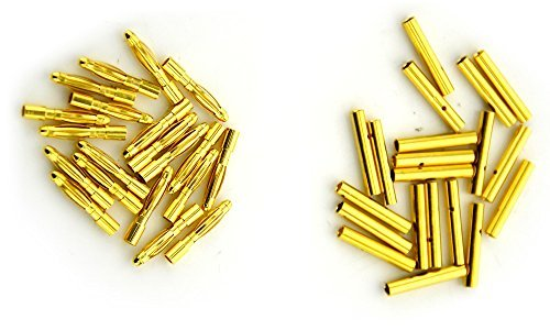 BW® 20 Pairs 2mm Gold Plated Male & Female Bullet Banana Plug Connector for ESC Battery (20 Male + 20 Female) (2mm)
