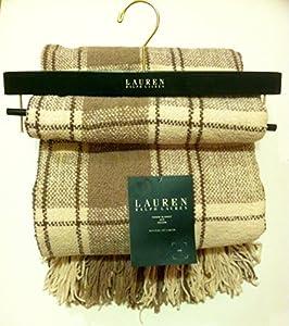 Lauren Fringed Throw Blanket - Jete Colcha - Tan Plaid: Home & Kitchen