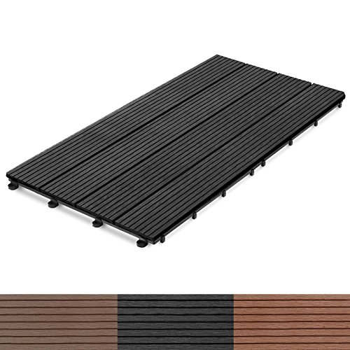 casa pura® 11x Interlocking Wood Composite Deck Tiles, Royal | 24
