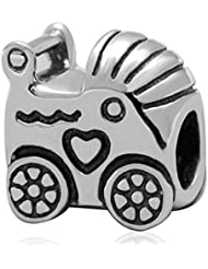 Baby Carriage Charm Authentic925 Sterling Silver Bead For European Brand Bracelet Jewelry