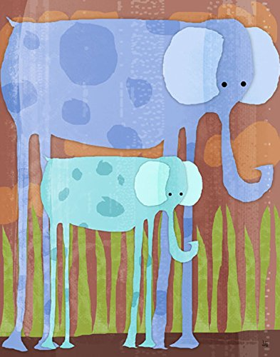 Green Leaf Art Elephants Canvas Art