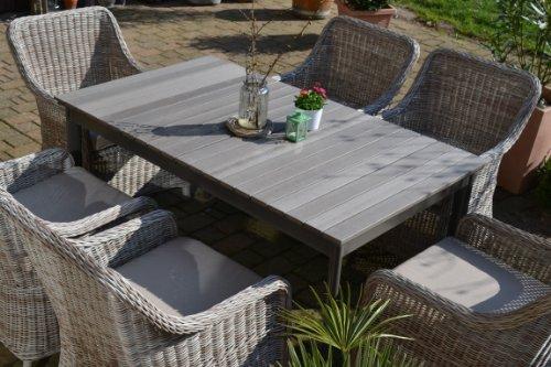 Willhaben Gartenmobel Villach :  Tisch ausziehbar Holzdekor mit 6 Sessel Rattan Polyrattan Geflecht