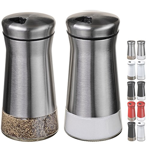 CHEFVANTAGE Salt and Pepper Shakers Set with Adjustable Holes - Stainless Steel (Salt Shaker compare prices)