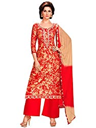 Kanchnar Women's Red and Beige Glace Cotton Embroidered Party Wear Dress Material for Traditional Wedding Wear,Navratri Special Dress,Great Indian Sale,Diwali Gift to Wife,Mom,Sister,Friend