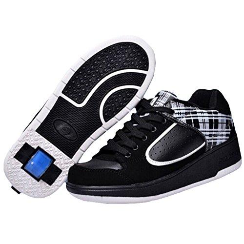 KE Unisex-Licht Breathable Stealth-Knopf automatische Heelys Pulley Schuhe Skates Sportschuhe (CN38=24CM=EU38, Black)