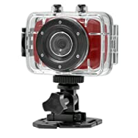 Gear-Pro High-Definition Sport Action Camera,720p Wide-Angle Camcorder With 2.0 Touch Screen - SD Card Slot, USB Plug And Mic - All Mounting Gear Included - For Biking, Riding, Racing, Skiing And Water Sports, Etc. - Red from WCI