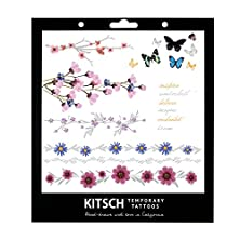 buy Kitsch Flower Metallic Tattoos, Silver, 0.019 Ounce