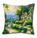 Spring patio Standard Size Design Square Pillowcase/Cotton Pillowcase with Invisible Zipper in 40*40CM 16*16(626 Painting)-62825