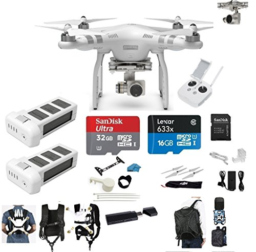 DJI Phantom 3 Advanced Quadcopter Drone with 2.7K HD Camera EVERYTHING YOU NEED Kit + 2 Total DJI Batteries + 32GB Class 10 SD Card + Reader + Carry on System w/Harness + Backpack + MORE