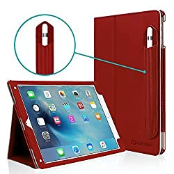 iPad Pro 9.7 Case, [Corner Protection], Casecrown Bold Standby Pro (Red) Case w/ Apple Pencil Holder - Black, Sleep / Wake, Hand Grip, & Multi-Angle Viewing Stand