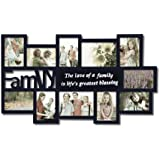 """Adeco Decorative Black Wood """"Family"""" Wall Hanging Collage Picture Photo Frame, 11 Openings, 4x6"""", 5x7"""""""