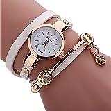 レザー ブレスレット 時計 どんな服にも良く合うデザイン( ホワイト)