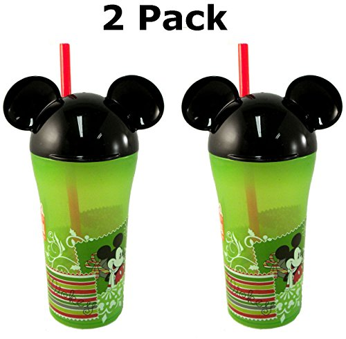 Zak Disney Mickey and Minnie Mouse Ears Winter Holiday Spill Resistant Cup with Straw (2 Pack) - 1