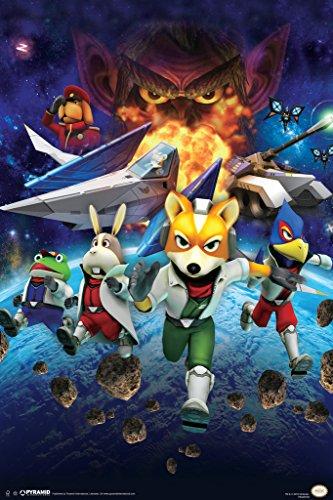 Star Fox Space Battle Fox McCloud Arwing Super Nintendo 64 GameCube Wii U Characters Poster - 12x18