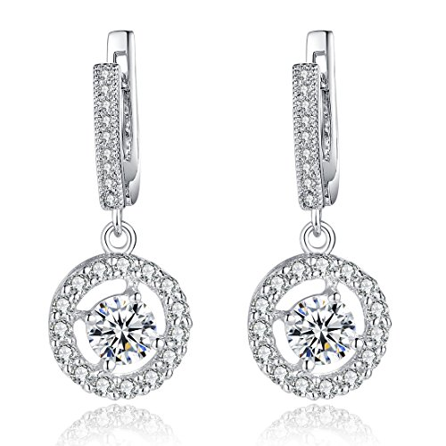 Bamoer Black Friday Christmas Earrings Big Promotion !! New Arrival Colorful Earrings18K White Gold Plated Brass Girls Women Ladies Pendant Stud Earrings AAA Cubic Zircon CZ Drop Dangle Jewelry Gift (Big Diamond Earrings compare prices)