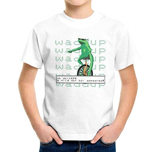 a-wild-dat-boi-appeared-waddup-green-frog-unicycle-twitter-meme-kids-t-shirt