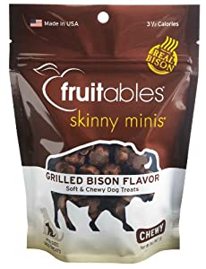 Fruitables Skinny Minis Chewy Dog Treats in Grilled Bison Flavor, 1-5-Ounce