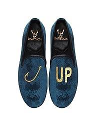 Bareskin Hook-Up Special Mens Handmade Blue Velvet Slipon With Embroidery - Limited Edition(Made On Order)