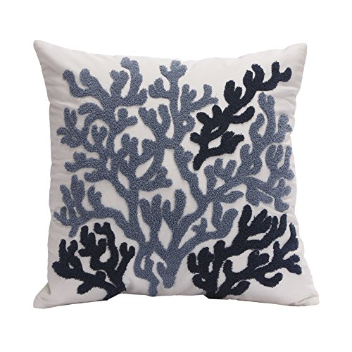 Harbor House Beach House 18-by-18-Inch Square Decorative Pillow, Blue (Beach House Pillows compare prices)