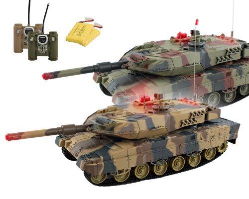 HMF 69050 RC Panzer Set integriertes Infrarot Kampfsystem 1:24 , 2 x German Leopard II A5, braun / grün, Gefechtsmodi, Sound Modus und Beleuchtung