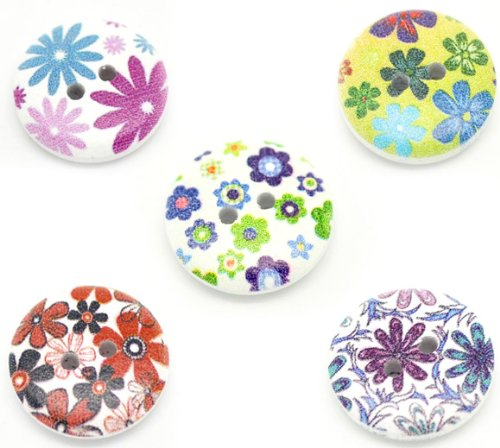 Wooden Painted Buttons Assorted Designs