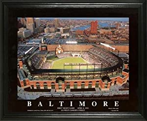 Baltimore Orioles - Camden Yards Aerial - Dusk - Lg - Framed Poster Print by Laminated Visuals