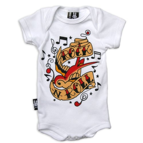 SIX Bunnies Baby body - Rock n Roll pagliaccetto bianco 6-12 Mesi