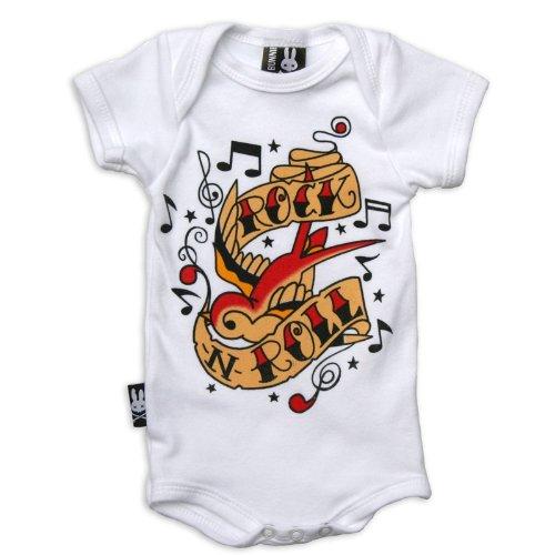 SIX Bunnies Baby body-Rock n Roll pagliaccetto bianco 6-12 Mesi