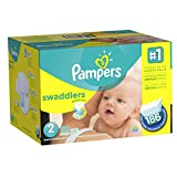 Pampers Swaddlers Diapers Size 2 Economy Pack Plus 186 Count,  (Packaging May Vary)